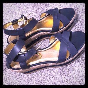 Ralph Lauren Navy Wedge Sandals